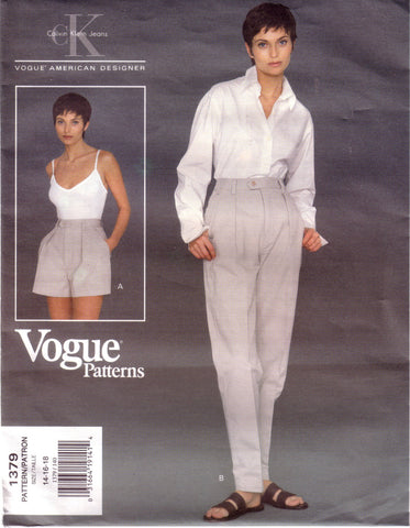 Vintage Vogue 1379, American Designer, Calvin Klein Jeans, Misses Shorts and Pants, Size 14, 16, 18 - Couture Service  - 1