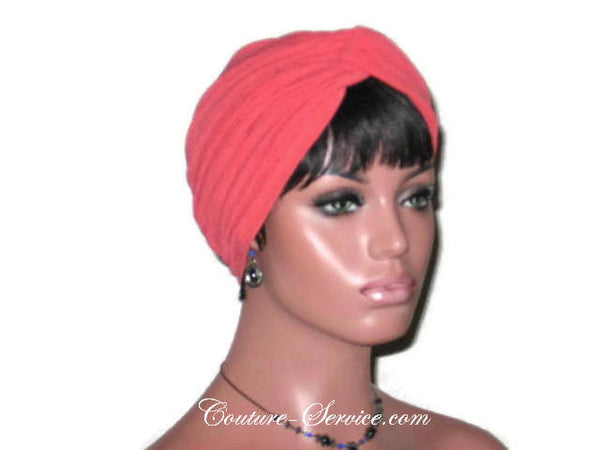 Handmade Orange Twist Turban, Crepe Textured - Couture Service  - 4