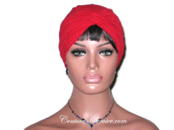 Handmade Red Twist Turban, Crepe Textured - Couture Service  - 2