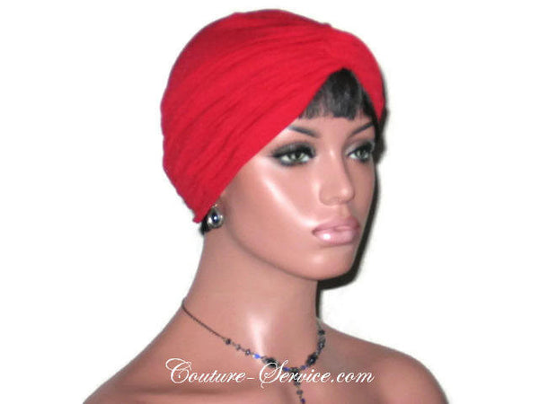 Handmade Red Twist Turban, Crepe Textured - Couture Service  - 3