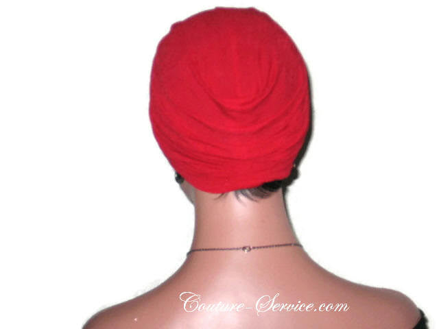 Handmade Red Twist Turban, Crepe Textured - Couture Service  - 4