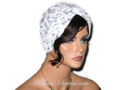 Handmade Purple Twist Turban, Floral, Teal - Couture Service  - 4