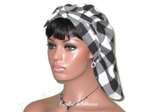 Handmade Lined Scarf Hat, Plaid, Black - Couture Service  - 1