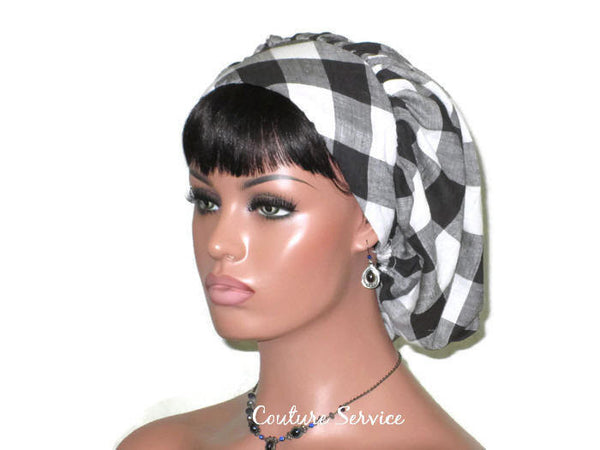 Handmade Snood Hat, Black Plaid Cotton - Couture Service  - 4