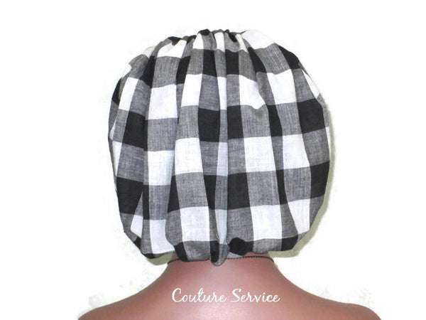 Handmade Snood Hat, Black Plaid Cotton - Couture Service  - 3