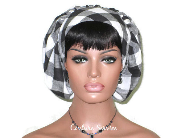 Handmade Snood Hat, Black Plaid Cotton - Couture Service  - 1