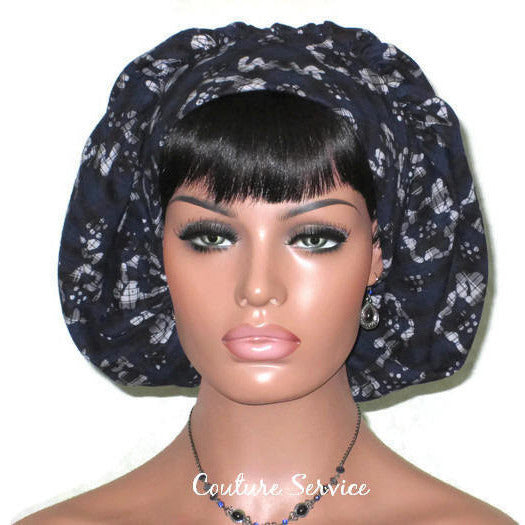 Handmade Snood Hat, Abstract, Navy Cotton - Couture Service  - 2