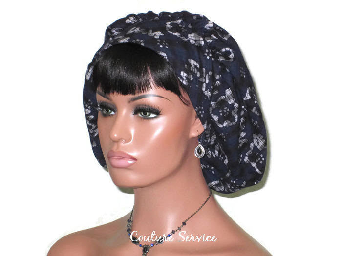 Handmade Snood Hat, Abstract, Navy Cotton - Couture Service  - 1