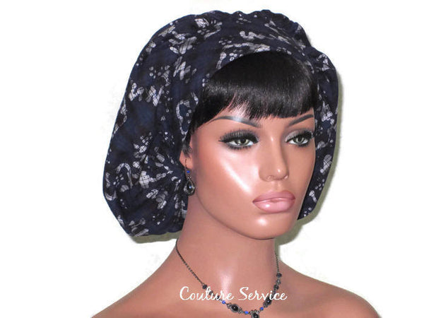 Handmade Snood Hat, Abstract, Navy Cotton - Couture Service  - 3