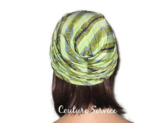 Handmade Green Twist Turban, Striped, Diagonal - Couture Service  - 3