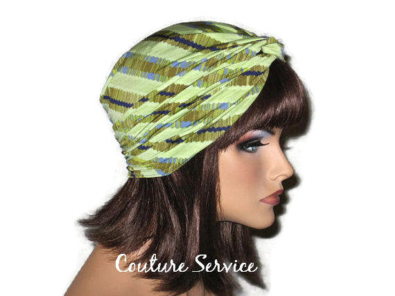 Handmade Green Twist Turban, Striped, Diagonal - Couture Service  - 4