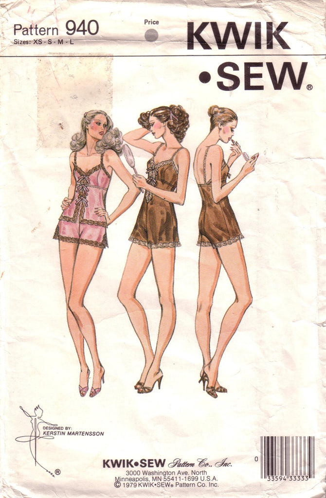 Vintage Kwik Sew 940, Misses Camisole, Panties, and Teddy - Couture Service  - 1