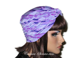 Handmade Purple Twist Turban, Striped, Diagonal - Couture Service  - 4