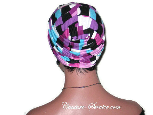 Handmade Purple Twist Turban, Abstract, Rayon - Couture Service  - 4