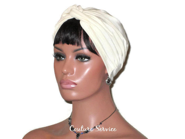 Handmade Ivory Twist Turban, Organic Cotton - Couture Service  - 4