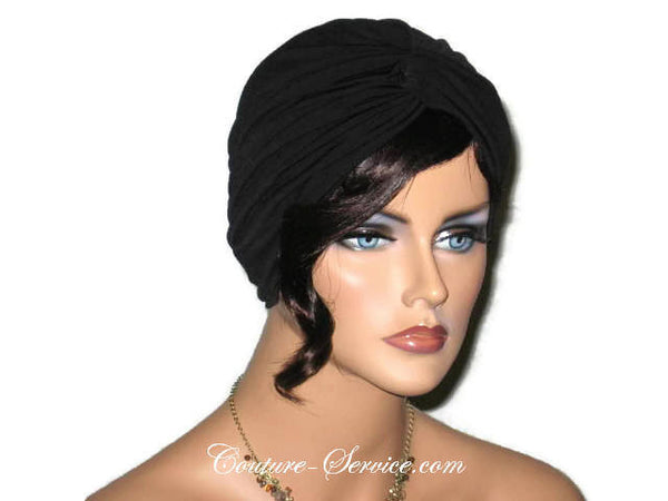 Handmade Black Twist Turban, Deep Black - Couture Service  - 2
