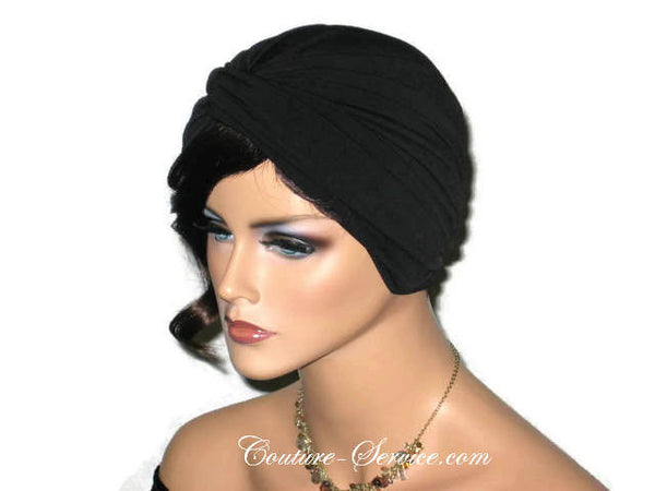 Handmade Black Twist Turban, Deep Black - Couture Service  - 4