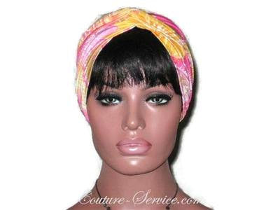 Handmade Yellow Twist Turban, Abstract, Pink - Couture Service  - 2