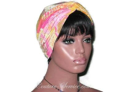 Handmade Yellow Twist Turban, Abstract, Pink - Couture Service  - 3