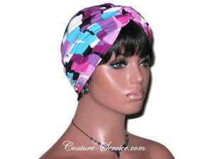 Handmade Purple Twist Turban, Abstract, Rayon - Couture Service  - 3