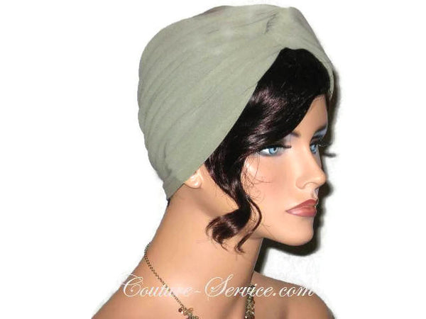 Handmade Green Twist Turban, Sage - Couture Service  - 4