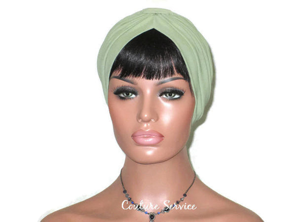 Handmade Green Turban, Sage, Banded Single Knot - Couture Service  - 2