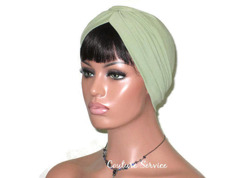 Handmade Green Turban, Sage, Banded Single Knot - Couture Service  - 1