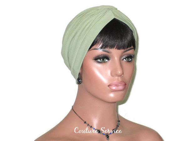 Handmade Green Turban, Sage, Banded Single Knot - Couture Service  - 3