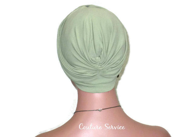 Handmade Green Turban, Sage, Banded Single Knot - Couture Service  - 4