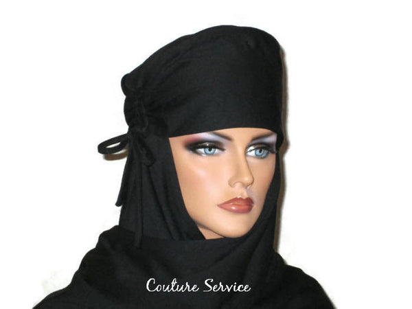 Handmade Black Turban Scarf Hat, Side Shirred - Couture Service  - 3