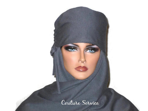 Handmade Grey Turban Scarf Hat, Heather, Side Shirred - Couture Service  - 1