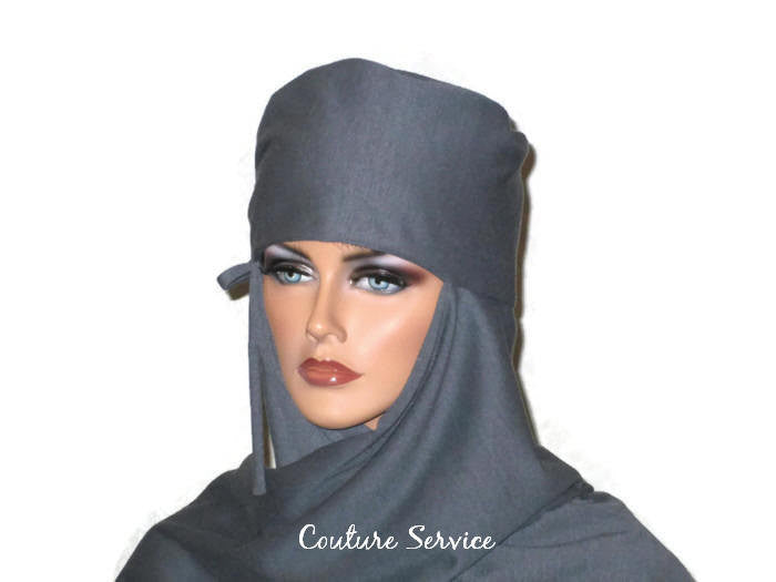 Handmade Grey Turban Scarf Hat, Heather, Side Shirred - Couture Service  - 4
