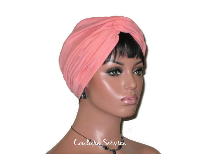 Handmade Orange Twist Turban, Salmon, Cotton Gauze - Couture Service  - 3