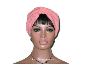 Handmade Orange Twist Turban, Salmon, Cotton Gauze - Couture Service  - 2