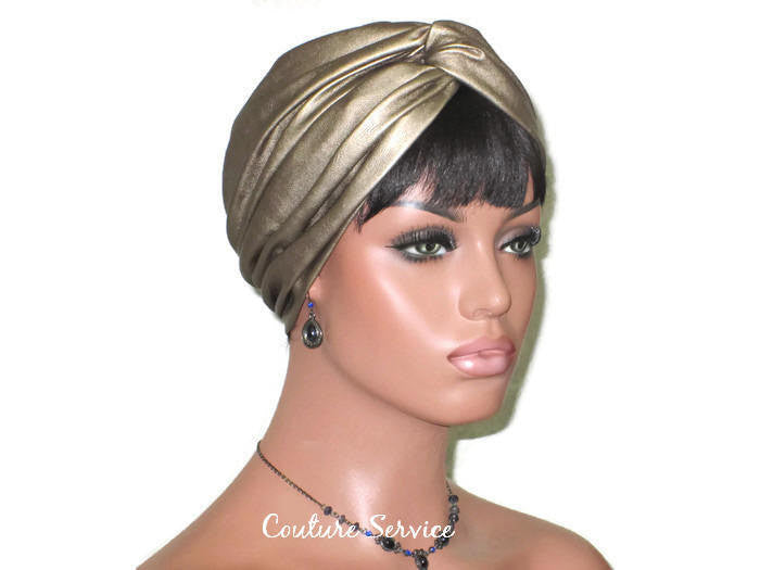 Handmade Leather Turban, Gold Metallic - Couture Service  - 3