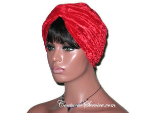 Handmade Red Twist Turban, Velour - Couture Service  - 2