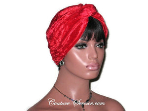 Handmade Red Twist Turban, Velour - Couture Service  - 4
