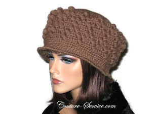 Handmade Crocheted Diamond Patterned Hat, Taupe - Couture Service  - 2