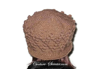 Handmade Crocheted Diamond Patterned Hat, Taupe - Couture Service  - 3