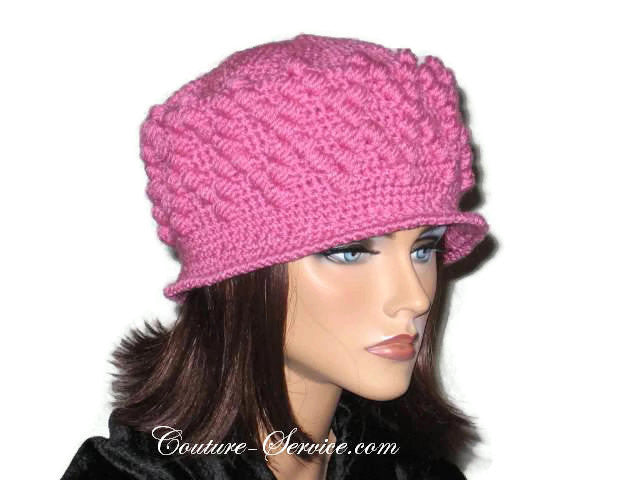 Handmade Crocheted Diamond Patterned Hat, Pink - Couture Service  - 4