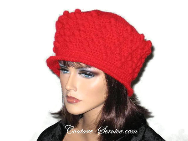Handmade Crocheted Diamond Patterned Hat, Red - Couture Service  - 2