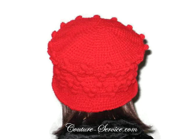 Handmade Crocheted Diamond Patterned Hat, Red - Couture Service  - 3