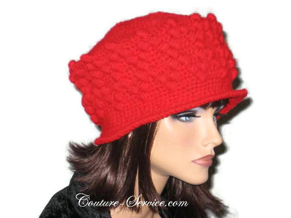 Handmade Crocheted Diamond Patterned Hat, Red - Couture Service  - 4