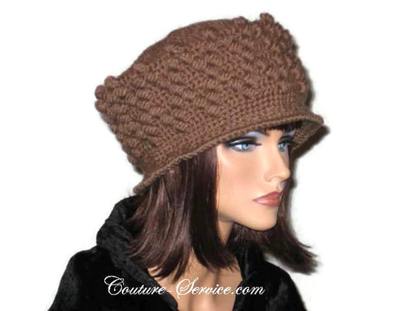 Handmade Crocheted Diamond Patterned Hat, Taupe - Couture Service  - 4
