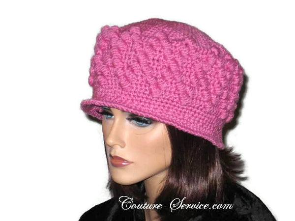Handmade Crocheted Diamond Patterned Hat, Pink - Couture Service  - 2