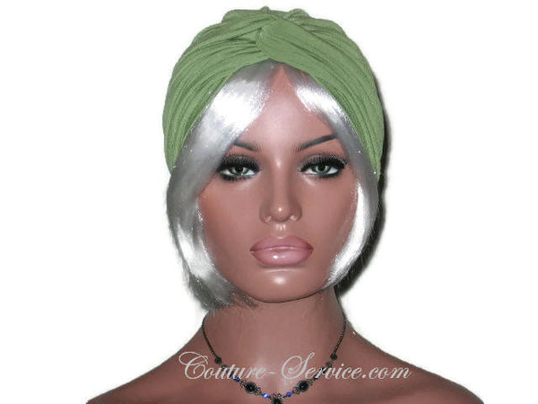 Handmade Green Twist Turban, Olive - Couture Service  - 1