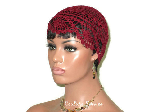 Handmade Burgundy Pineapple Lace Cloche - Couture Service  - 1