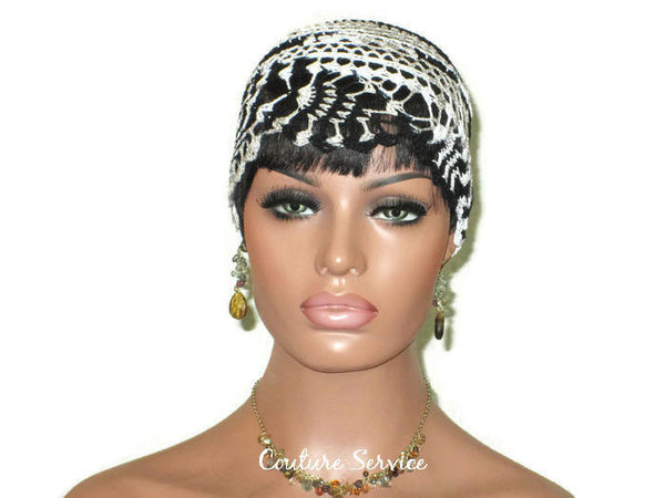 Handmade Black Pineapple Lace Cloche, Zebra Variegate - Couture Service  - 2