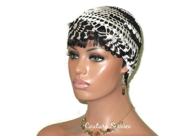 Handmade Black Pineapple Lace Cloche, Zebra Variegate - Couture Service  - 3