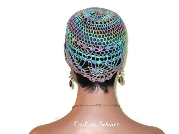 Handmade Blue Pineapple Lace Cloche, Monet Variegate - Couture Service  - 4